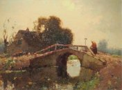 Landschap met vrouw op een brug
