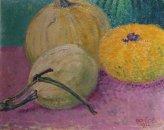 Pointilistisch stilleven met pompoenen