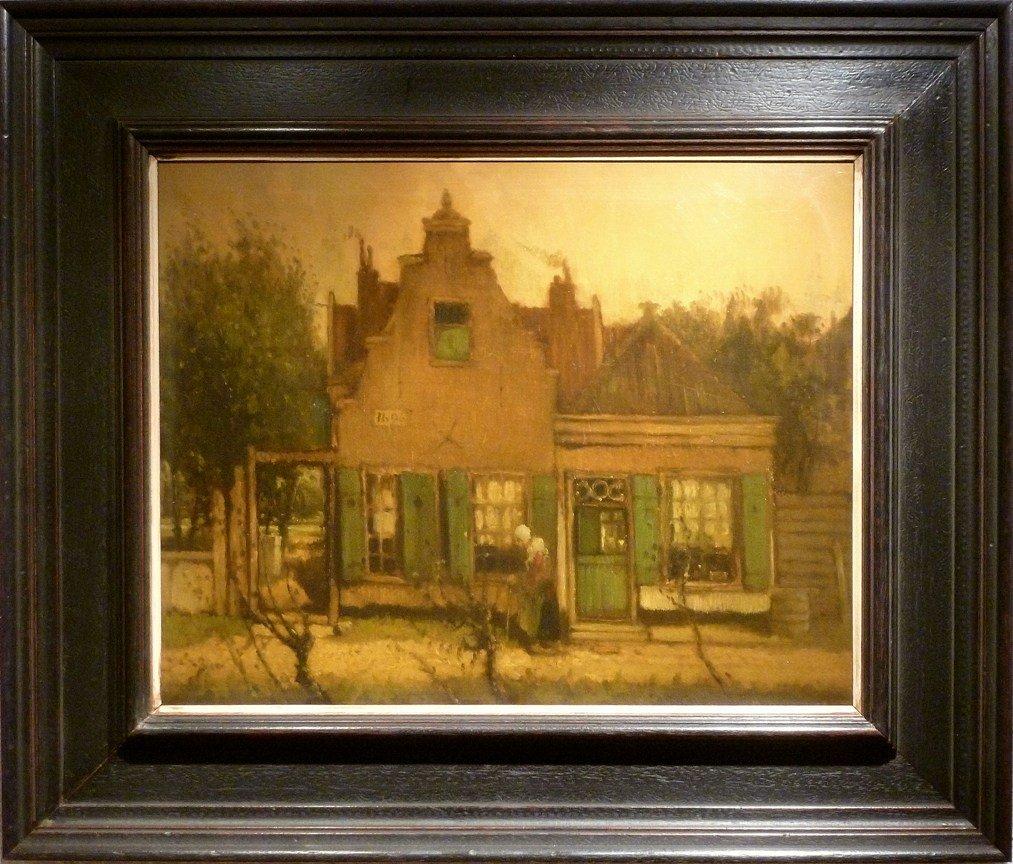 Schilderij dorpsgezicht met oud vrouwtje van henri van daalhoff for Schilderij huis voorgerecht