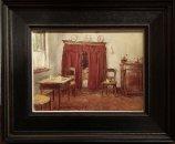 Interieur met bedstee en poesje op stoel