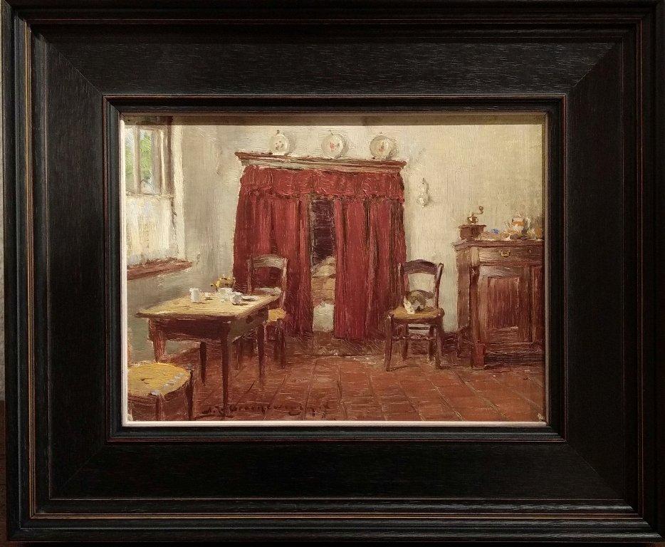 Adrianus J. Groenewegen - Interieur met bedstee en poesje op stoel
