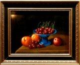 Stilleven met perziken en kersen