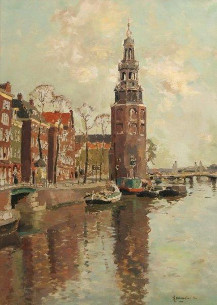 Alexander Coenraad (Alex) Rosemeier - Stadsgezicht Amsterdam met  Montelbaanstoren