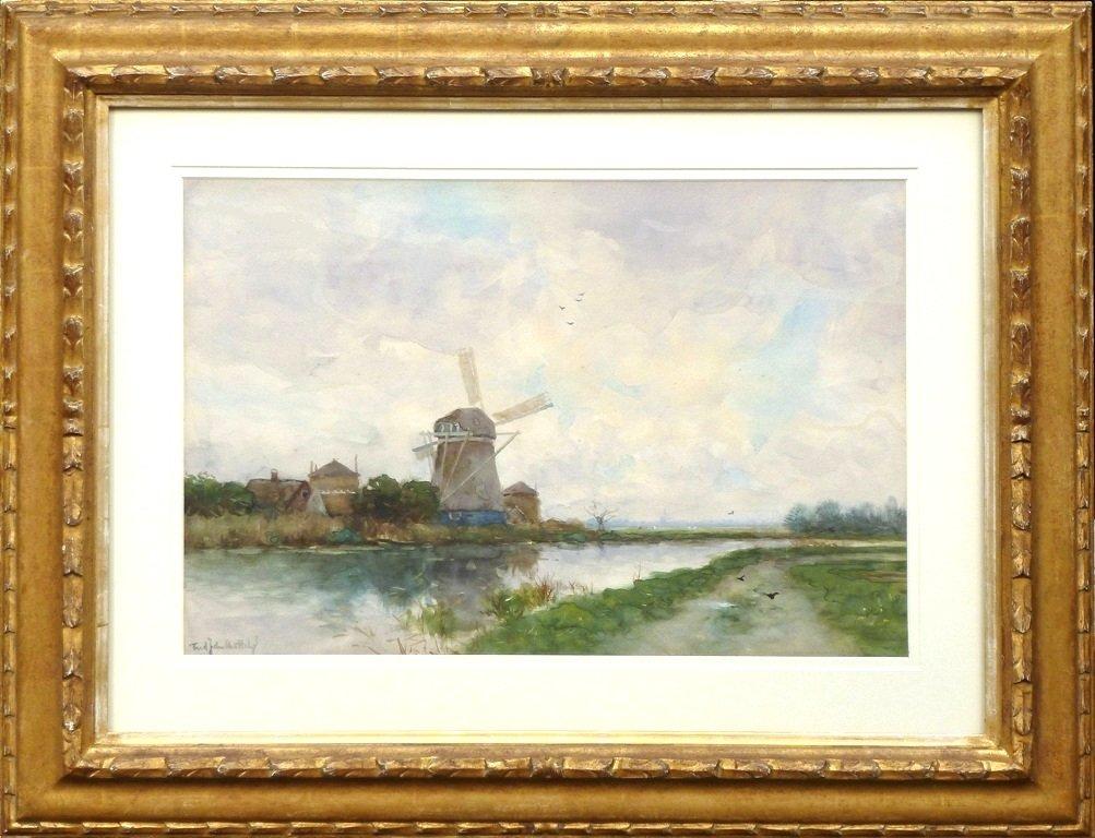 Frederik van Rossum du Chattel - Boerderij met molen aan het water