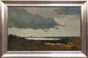 Waterland met wolkenlucht