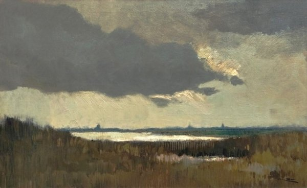 Chris Soer - Waterland met wolkenlucht